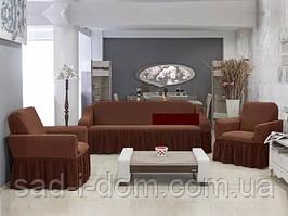 Чехол на диван и 2  кресла Соты, шоколадный