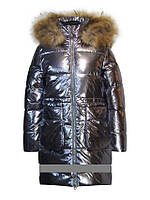 Детский зимний пуховик для девочки от Anernuo 18224, 160рост (серебро)