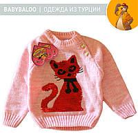 """Кофта детская на пуговицах пайетки  """"Кошка""""  (от 1 до 3 лет)"""