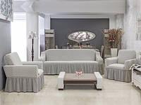 Чехол на диван и 2  кресла Соты, бело-серый