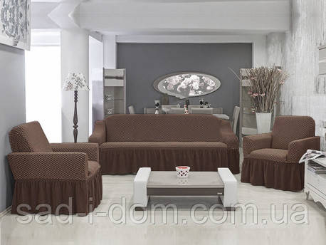 Чехол на диван и 2  кресла Соты, кофе
