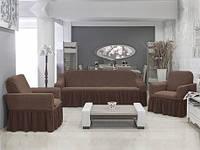 Чехол на диван и 2  кресла Соты, кофе, фото 1