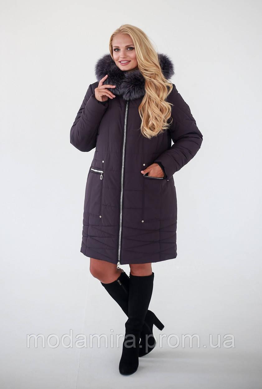 Женская зимняя молодежная куртка большого размера р-52 c52ec0eab38fb