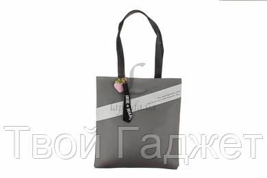 ОПТ/Розница Сумка женская кожзам пляжная на магнитной кнопке с ремешком для ключей серая