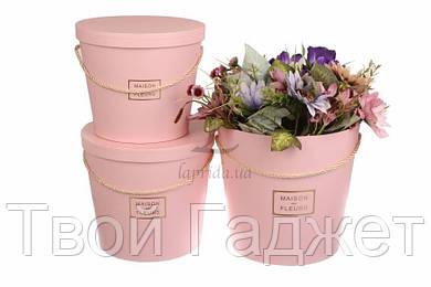 ОПТ/Розница Коробки под цветы в виде ведра розовые (Цена за 3 шт)