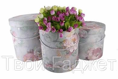 ОПТ/Розница Коробка под цветы цилиндрическая с цветочным принтом серая