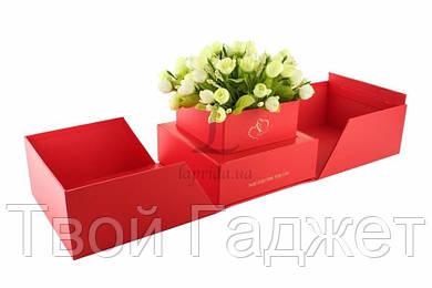 ОПТ/Розница Коробка под цветы в виде подарка раскладная красная