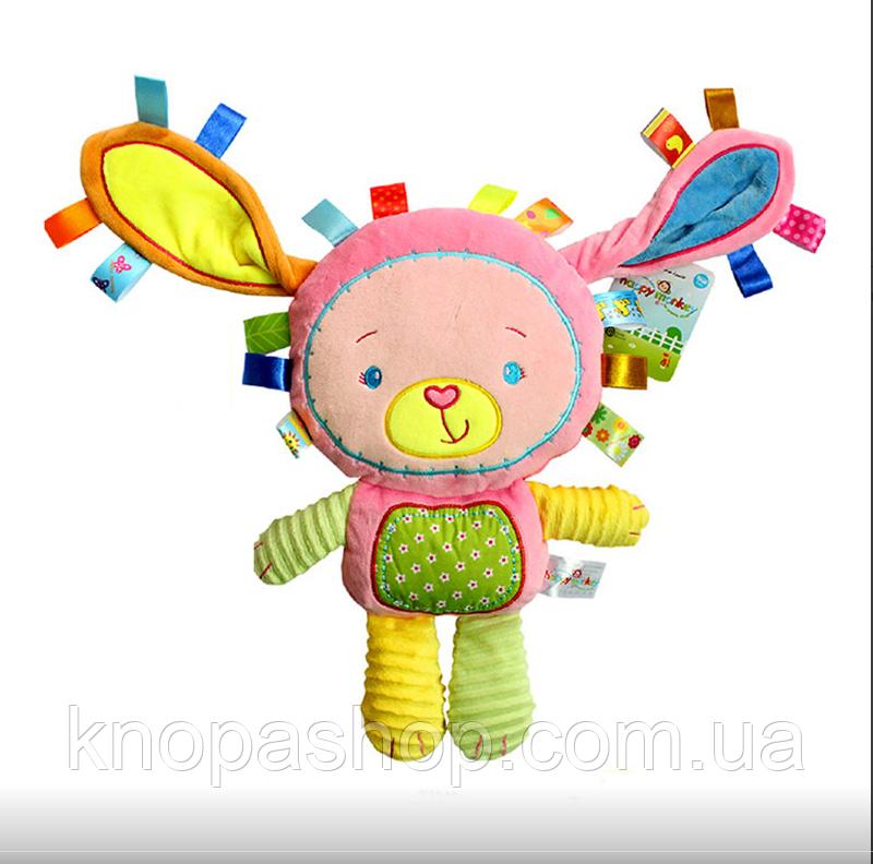 М'яка Іграшка - Брязкальце Зайчик Happy Monkey