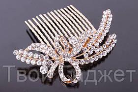 ОПТ/Розница Гребешок для волос металлический золотистый в стразах (Цена за 1 шт)