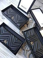 Кожаный кошелек GUCCI  черный (реплика)
