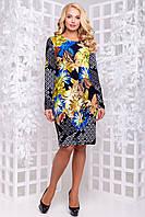 Яскраве трикотажне плаття з квітковим принтом 50-56р