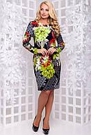 Оригінальне трикотажне плаття з квітковим принтом 50-56р