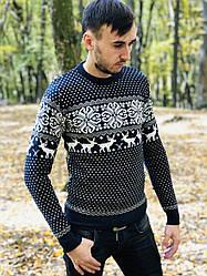 Теплый мужской шерстяной свитер гольфом с оленями, Турция С,М,Л,ХЛ