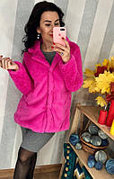 Ярко-розовая шубка из искусственого меха, фото 1