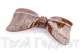 ОПТ/Розница Заколка автоматическая в виде банта в стразах (коричневая)