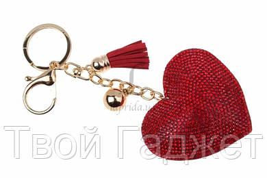 ОПТ/Розница Брелок сердце в стразах с кисточкой (красный)