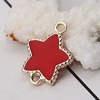 Коннектор, Звезда, Цинковый сплав, Цвет: золото, красная эмаль, 24 мм x 19 мм, фото 1