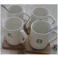 """Чашка з підставкою і ложкою """"Starbucks"""" 8 * 9 см"""