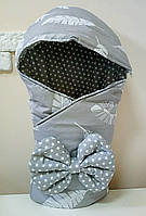 Конверт Одеяло с капюшоном на выписку новорожденного зима 80х80см