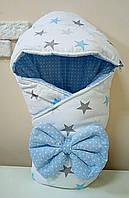 Конверт Одеяло с капюшоном на выписку зима 80х80см бело/голубые звезды