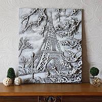 Настенная картина светящаяся, барельеф Париж