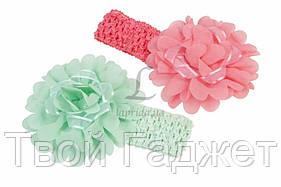 ОПТ/Розница Детская повязка на голову с цветочком разноцветная