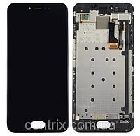 Дисплей (экран) для Meizu Pro 6 мейзу + тачскрин, цвет черный, с передней панелью