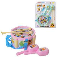 Музыкальные инструменты детские 890-C10, барабан,палочки 2шт, маракасы
