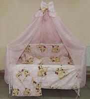Детское постельное белье в кроватку Мишки спят 8 в 1 розовое
