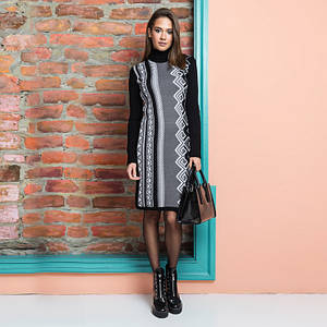 Платья осень зима Корица черный - графит - белый