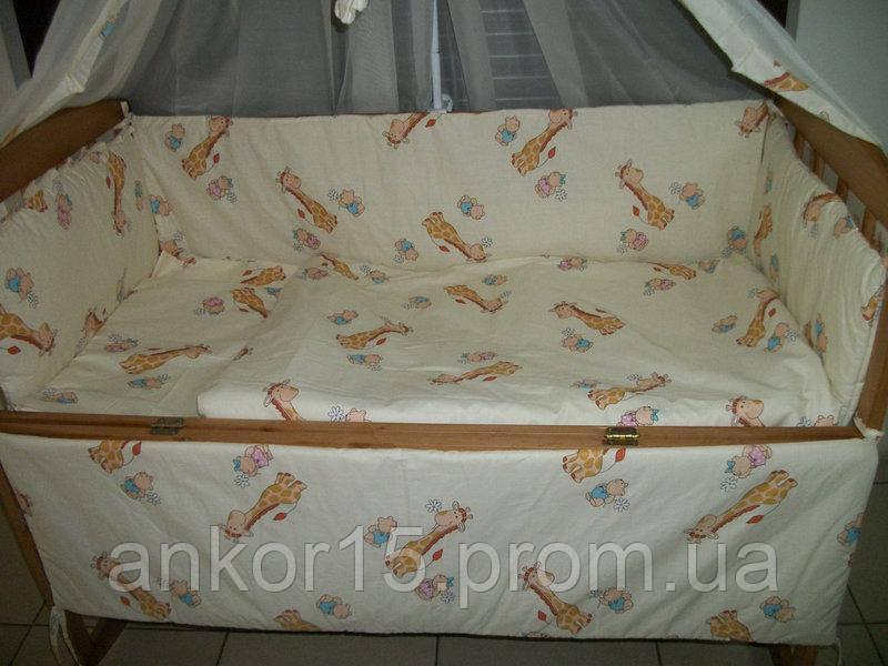 Детское постельное белье желтое Жирафы 8 в 1