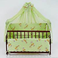 Детское постельное белье зеленое Жирафы 8 в 1