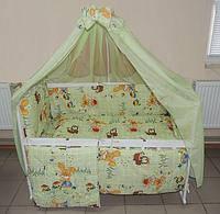 Детское постельное белье зеленое Зайчик 8 в 1