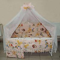Детское постельное белье персиковое Зайчик 8 в 1