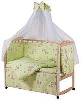 Детское постельное белье зеленое Мишка на тучке  8 в 1