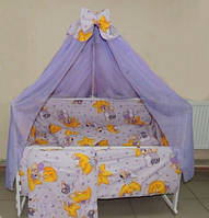 Детское постельное белье фиолетовое Мишка -звезда  8 в 1