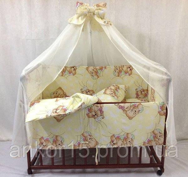 Детское постельное белье в кроватку Мишки спят 8 в 1 желтое