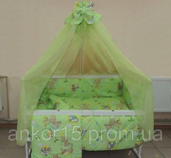 Детское постельное белье в кроватку Олененок 8 в 1 зеленое