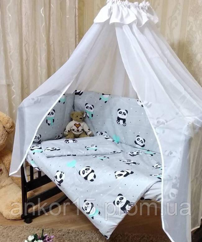 Детское постельное белье в кроватку Панда 8 в 1