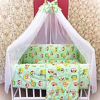 Детское постельное белье в кроватку Совы 8 в 1 зеленый