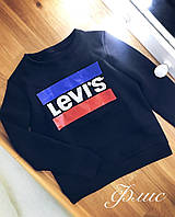 Женский теплый свитер свитшот Levi's Левайс ткань трехнить на флисе черный