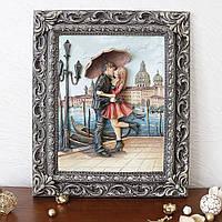 Панно настенное декоративное Пара под зонтом цветная в раме, фото 1