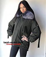 Куртка с натуральным мехом цвет черный