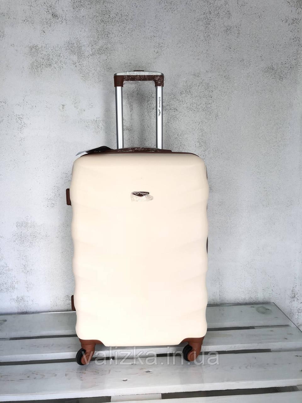 Чемодан из поликарбоната средний чемодан молочный Польша / Валіза середня з полікарбонату