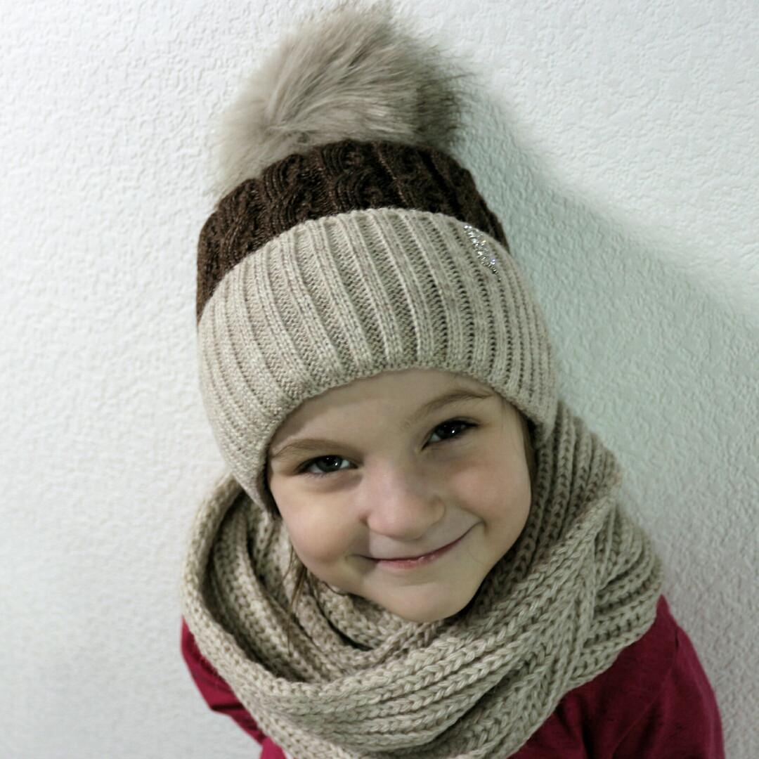 Зимний комплект для девочек...шапка + хомут..от 5 до 10 лет ... 1385697fee97b
