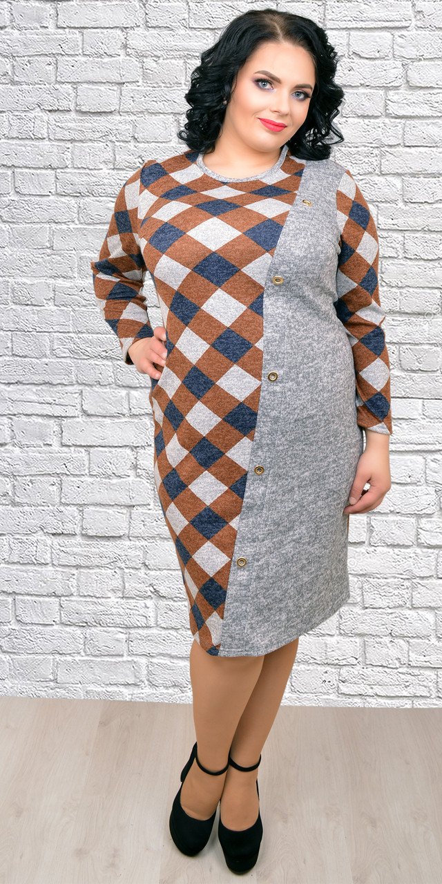 528e9611f1d Женское красивое теплое платье в клетку