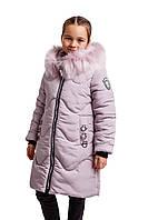 Зимняя куртка парка для девочки подростка от производителя  34-42 пудра