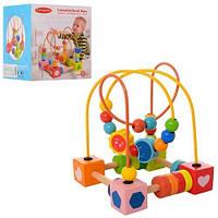 Деревянная игрушка Лабиринт MD 1242 на проволоке 17см фигурки в кор-ке 15-15-17 5см 3952