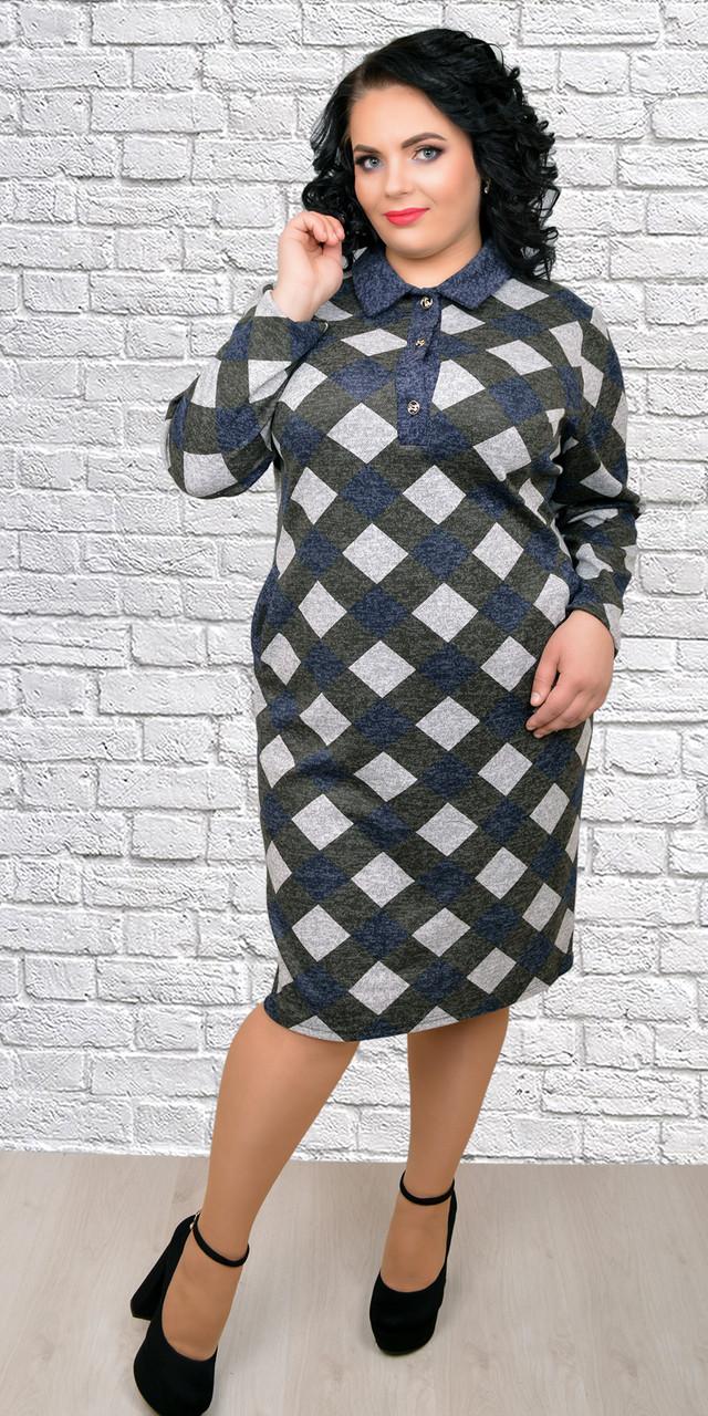 f122d614777e9d2 Женское красивое теплое платье с воротником в клетку, 52,54,56,58 ...