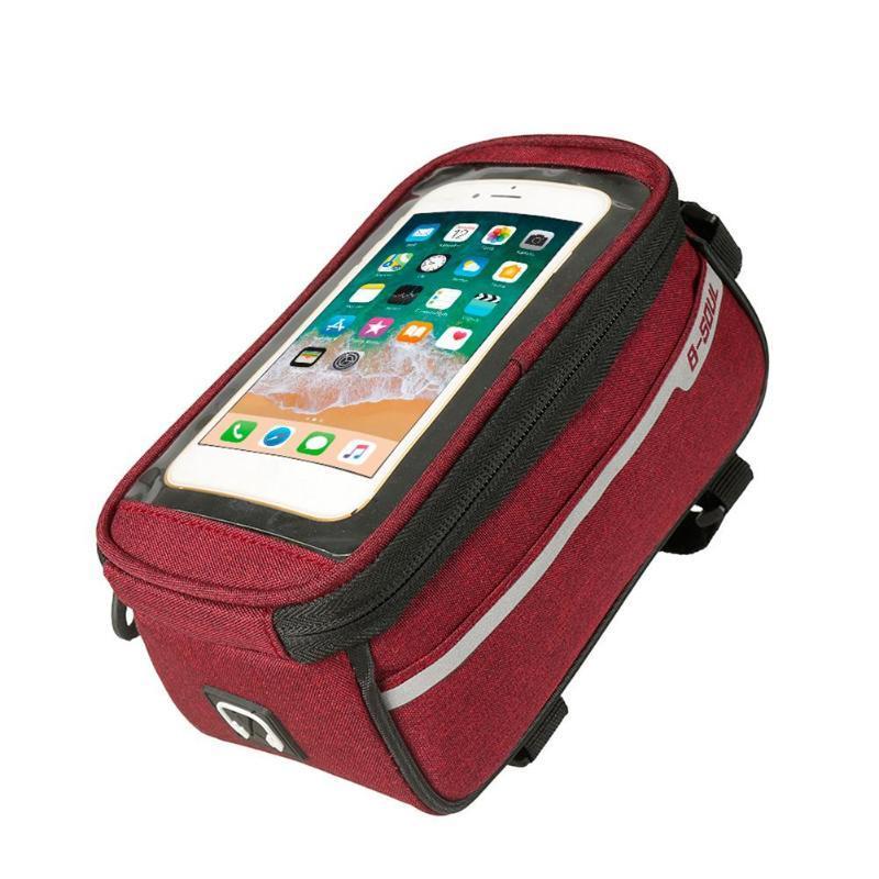 """Сумка велосипедная B-Soul Premium на раму, для телефона до 6.5"""", красная"""